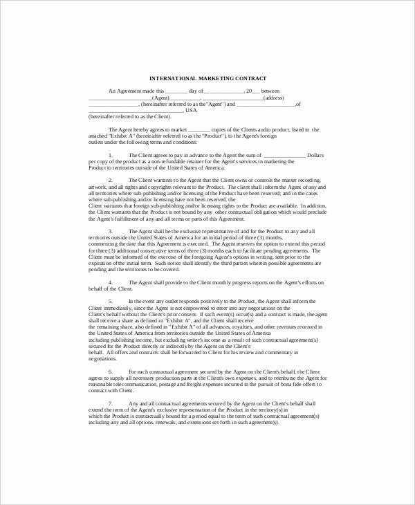 Digital Marketing Contract Template Best Of 16 Marketing Contract Templates Free Sample Example format