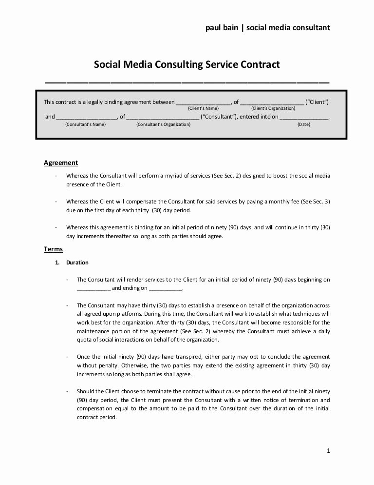 Digital Marketing Contract Template Elegant social Media Consulting Services Contract