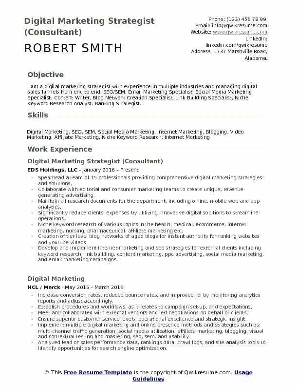 Digital Marketing Resume Template Best Of Director Marketing Resume Example Digital Headline