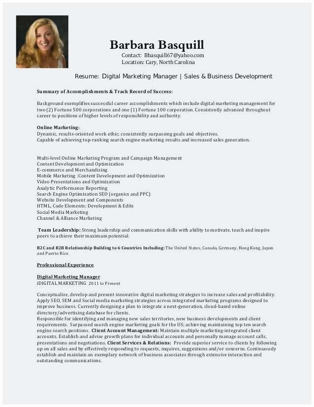 Digital Marketing Resume Template Fresh Sample Resume for Digital Marketing Manager Popular
