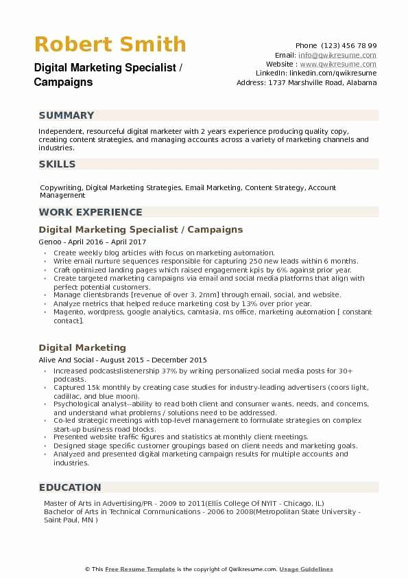 Digital Marketing Resume Template Inspirational Digital Marketing Specialist Resume Samples
