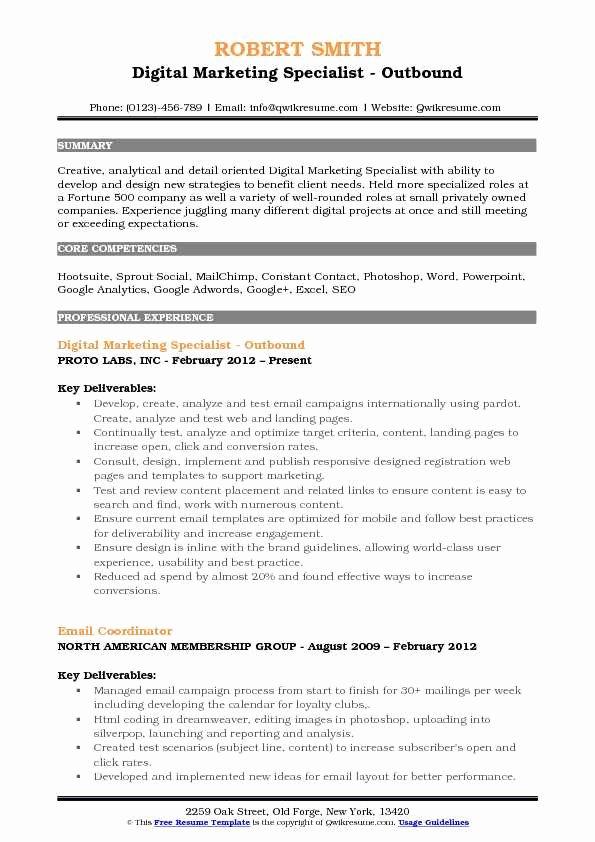 Digital Marketing Resume Template Lovely Digital Marketing Specialist Resume Samples