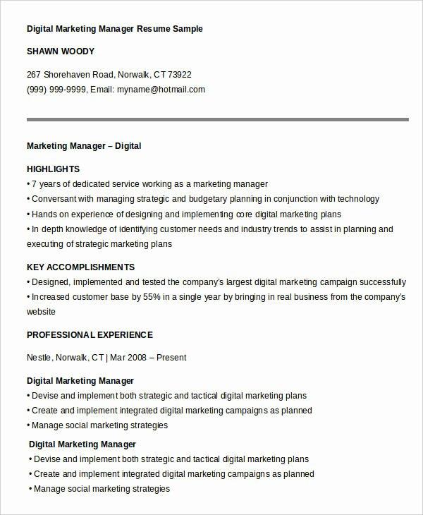 Digital Marketing Resume Template New 40 Free Manager Resume Templates Pdf Doc