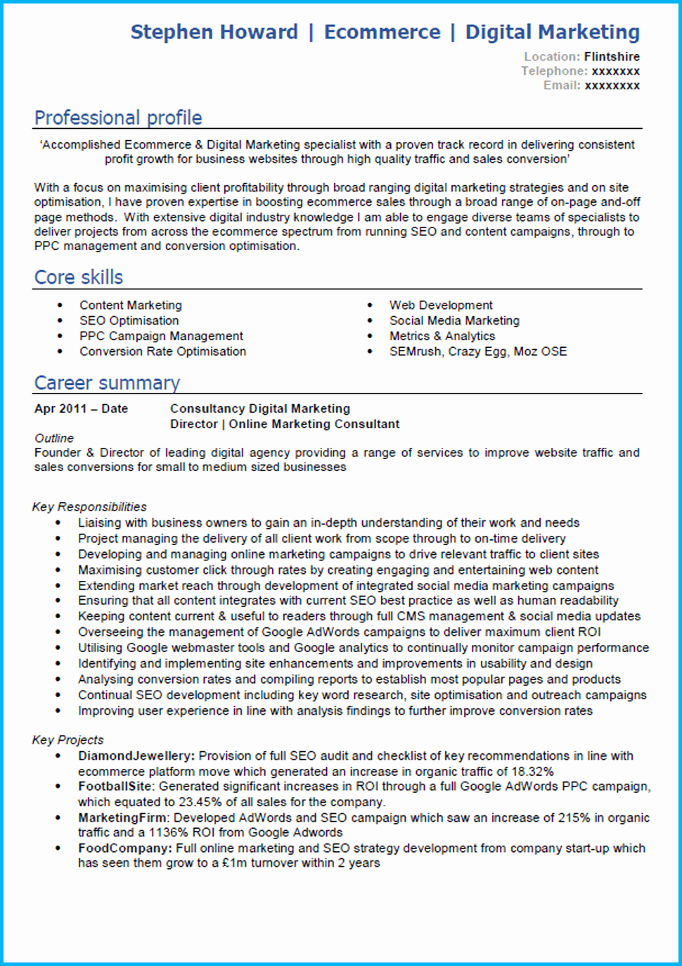 Digital Marketing Resume Template New Digital Marketing Cv Example with Writing Guide and Cv