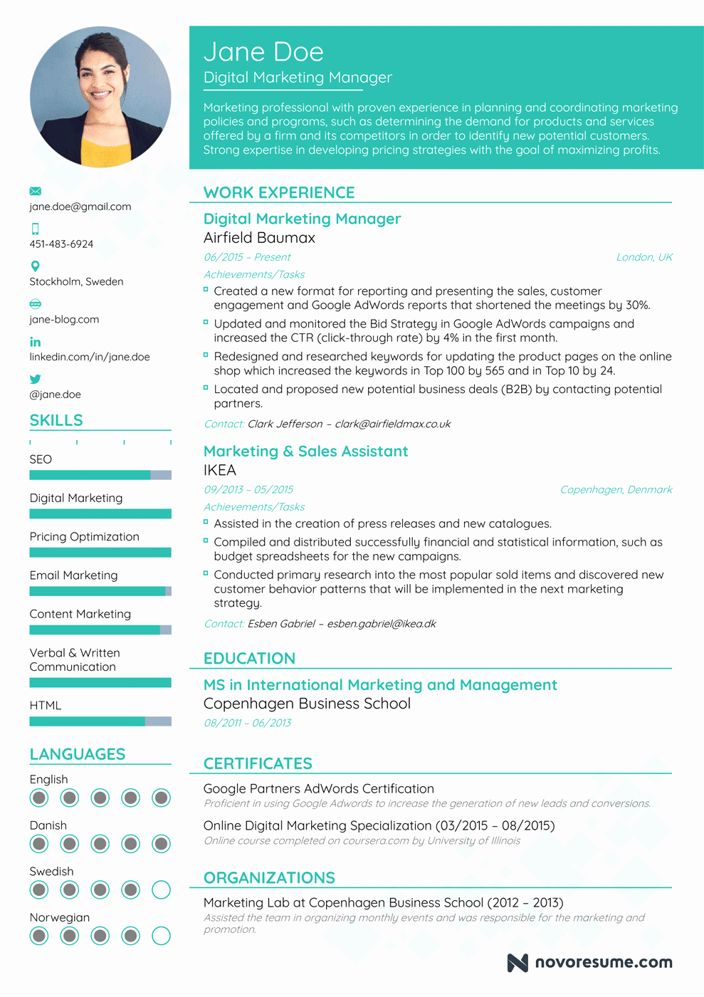 Digital Marketing Resume Template New Marketing Manager Resume Example Update Yours now for 2019