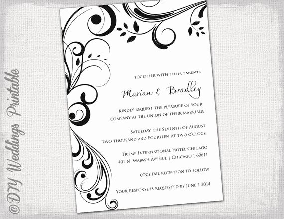 Dinner Invite Template Word Awesome Wedding Invitation Templates Black and White