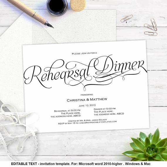 Dinner Invite Template Word Inspirational Printable Invitation Templates Rehearsal Dinner Diy