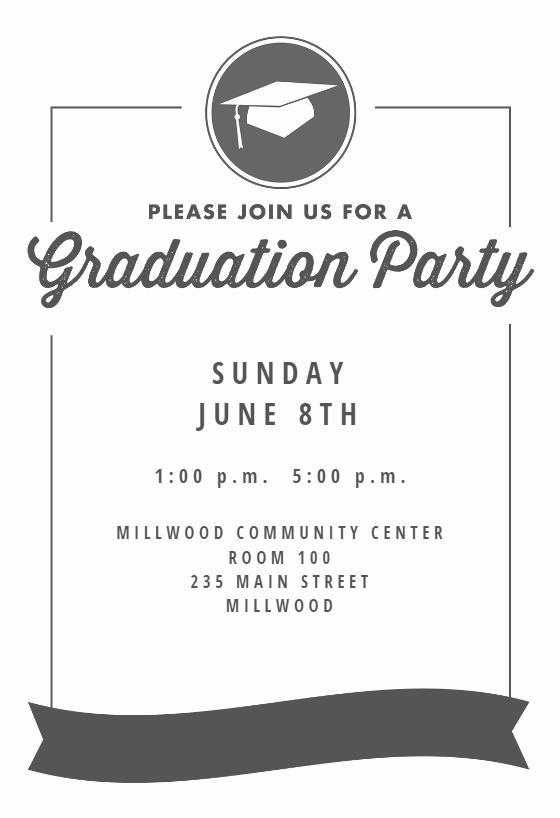 Dinner Invite Template Word Unique Ribbon Graduation Free Graduation Party Invitation