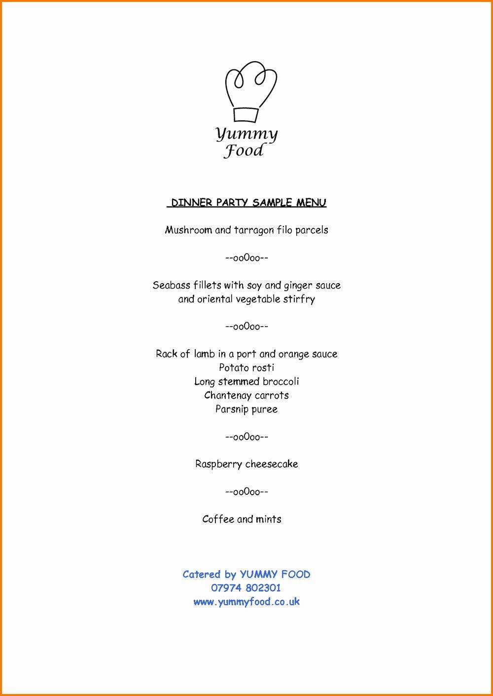 Dinner Menu Template Word Elegant Tea Party Menu Template Free Templates