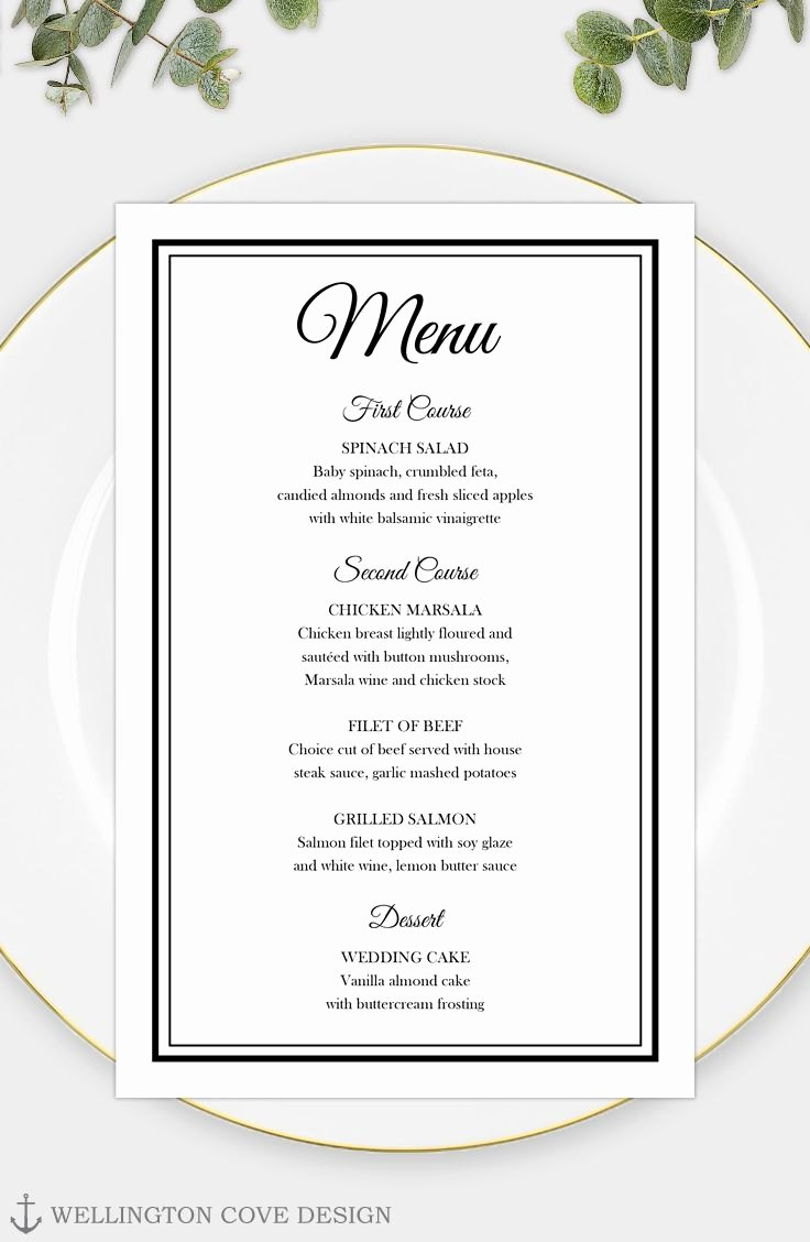 Dinner Menu Template Word Fresh Printable Wedding Menu Template for Microsoft Word