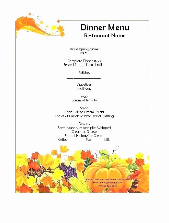 Dinner Menu Template Word Inspirational Christmas Dinner Menu Word Template Free Vector – Skincense