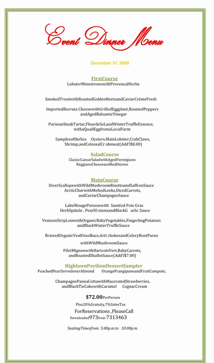 Dinner Menu Template Word Inspirational Dinner Menu Template 5 Printable Menu Designs