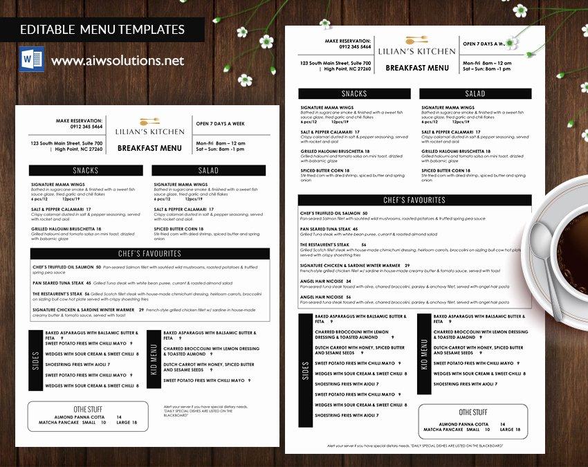Dinner Menu Template Word Luxury Design & Templates Menu Templates Wedding Menu Food