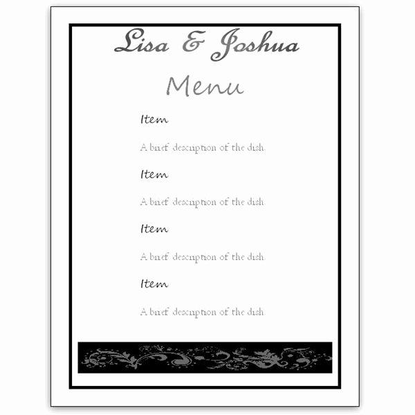 Dinner Menu Template Word Luxury Menu Template Word