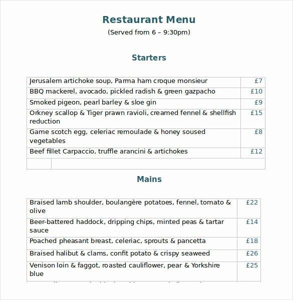 Dinner Menu Template Word New 32 Word Menu Templates Free Download