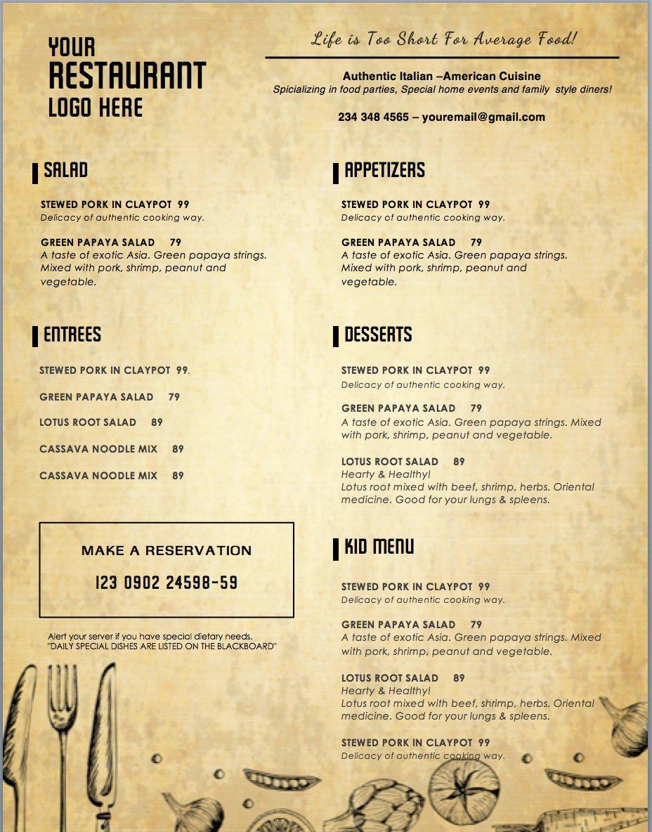 Dinner Menu Template Word Unique Design & Templates Menu Templates Wedding Menu Food