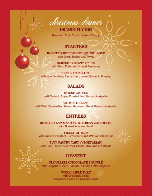 Dinner Party Menu Template Elegant Christmas Party Menu