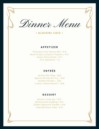 Dinner Party Menu Template Lovely Cream and Blue Fancy Border Dinner Menu Templates by Canva