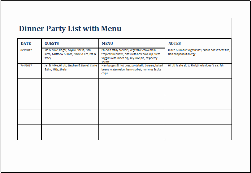 Dinner Party Menu Template Lovely Dinner Party List with Menu Template for Excel