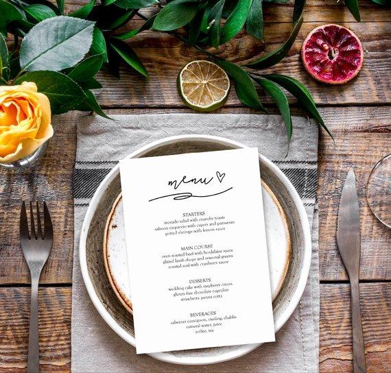 Dinner Party Menu Template Lovely Menu Template Elegant Dinner Party Menu Template Bridal