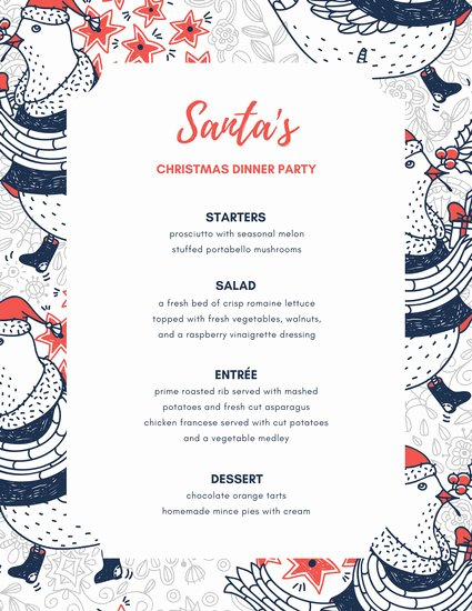 Dinner Party Menu Template Unique Dinner Party Menu Templates Canva