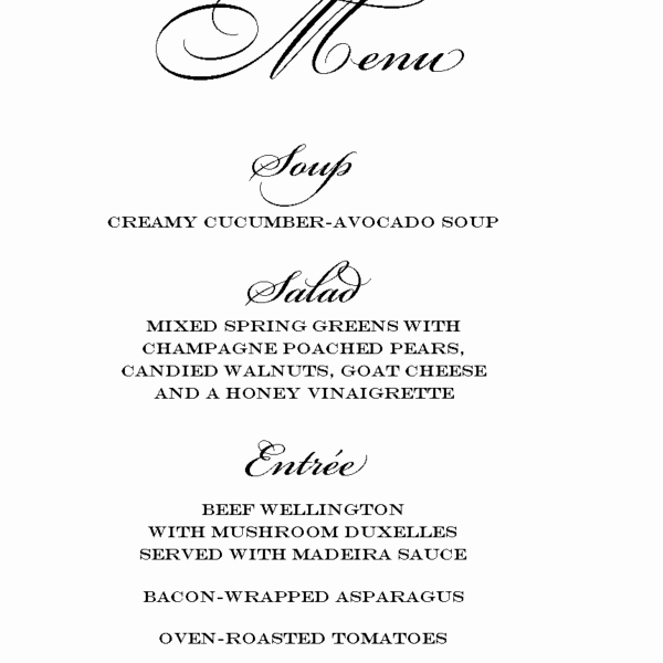 Dinner Party Menu Template Unique Free Dinner Party Menu Templates – Cloudinvitation for