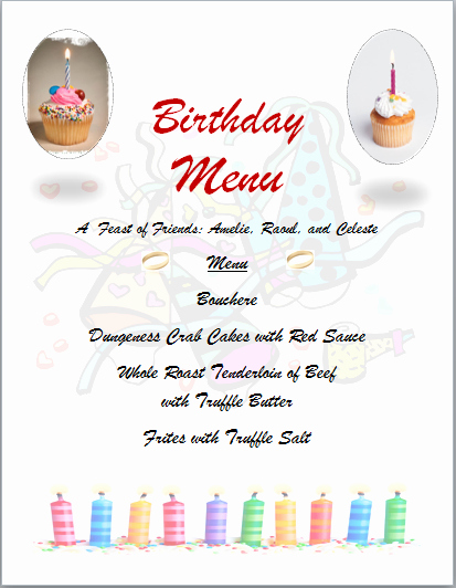 Dinner Party Menu Template Unique Free Word Templates Birthday Party Menu Template