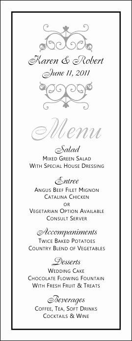 Dinner Party Menu Template Unique Wedding Menu Templates
