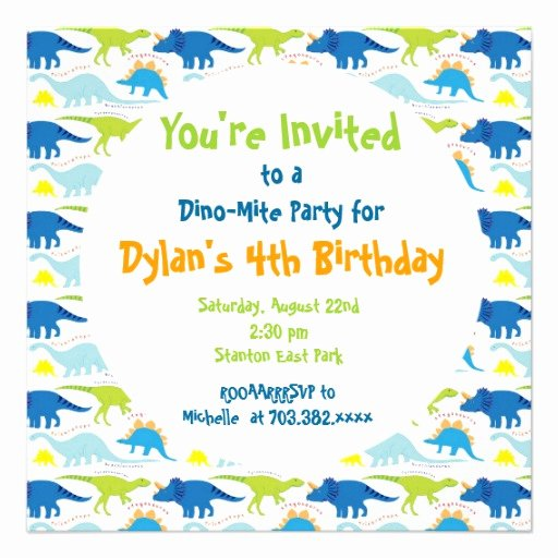 Dinosaur Birthday Invitation Template Elegant Cute Dinosaur Birthday Party Invitation Templates 5 25
