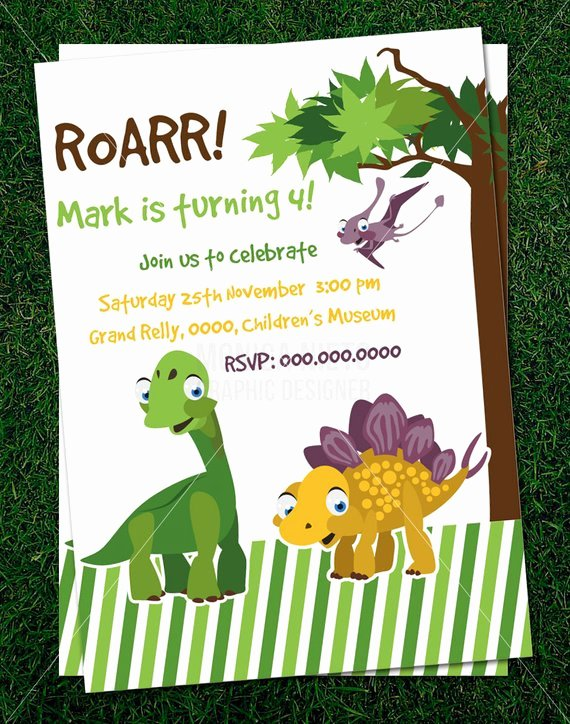 Dinosaur Birthday Invitation Template Elegant Items Similar to Custom Printable Dinosaur Party Birthday