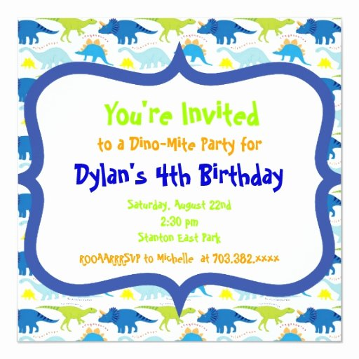 Dinosaur Birthday Invitation Template Luxury Cute Dinosaur Birthday Party Invitation Templates