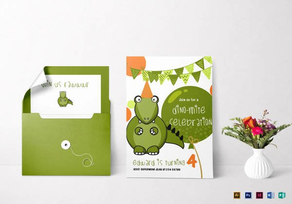 Dinosaur Birthday Invitation Template New 16 Animal Birthday Invitation Templates Free Vector Eps