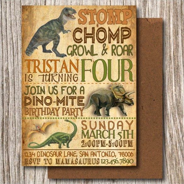 Dinosaur Birthday Invitation Template Unique 26 Dinosaur Birthday Invitation Templates – Free Sample