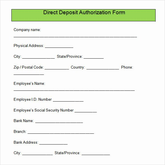 Direct Deposit form Template Awesome Direct Deposit Authorization form Free Download for Pdf