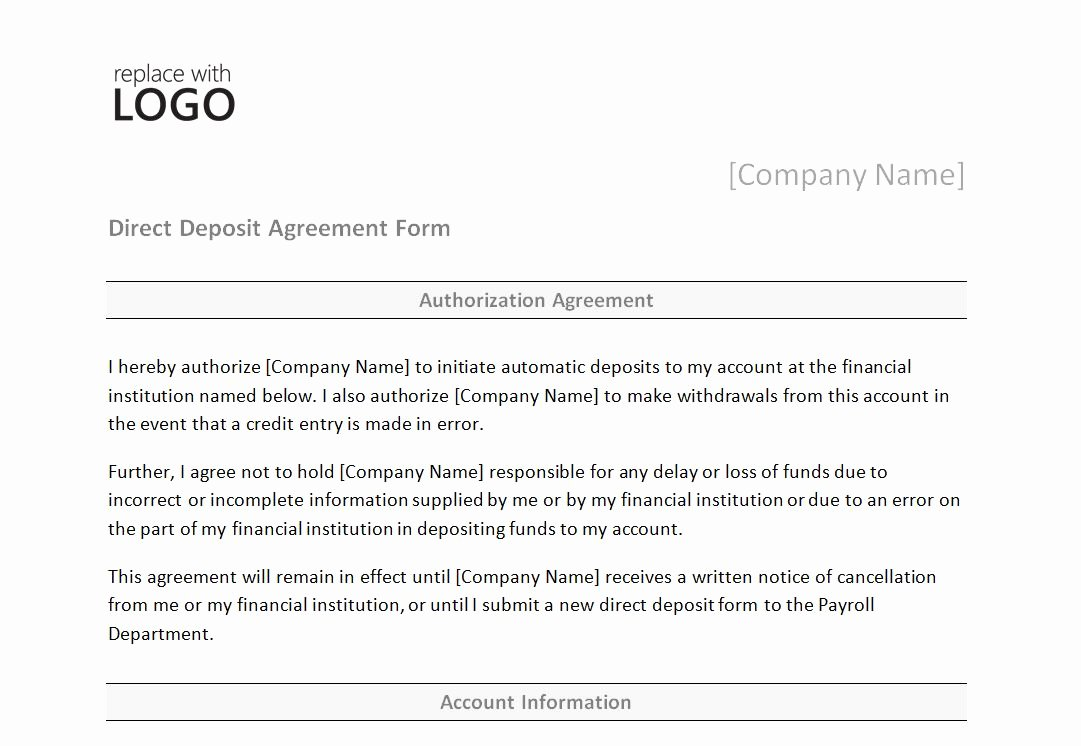 Direct Deposit form Template Awesome Direct Deposit form Template