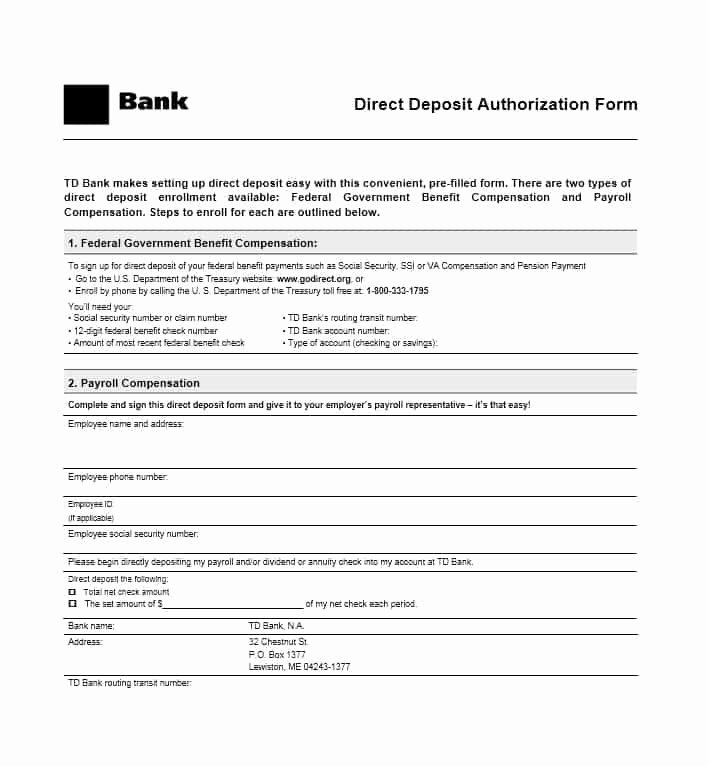 Direct Deposit form Template Best Of 47 Direct Deposit Authorization form Templates Template