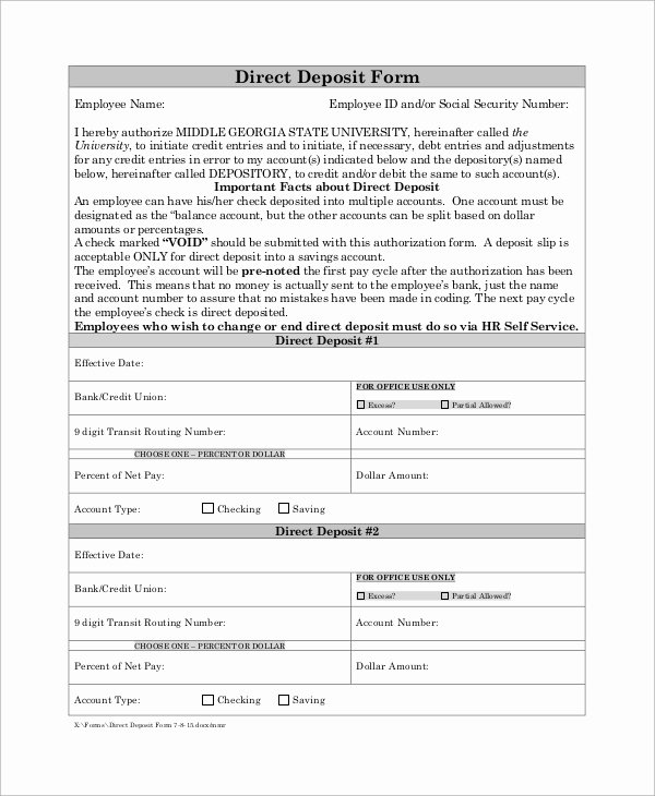 Direct Deposit form Template Best Of 6 Sample social Security Direct Deposit forms