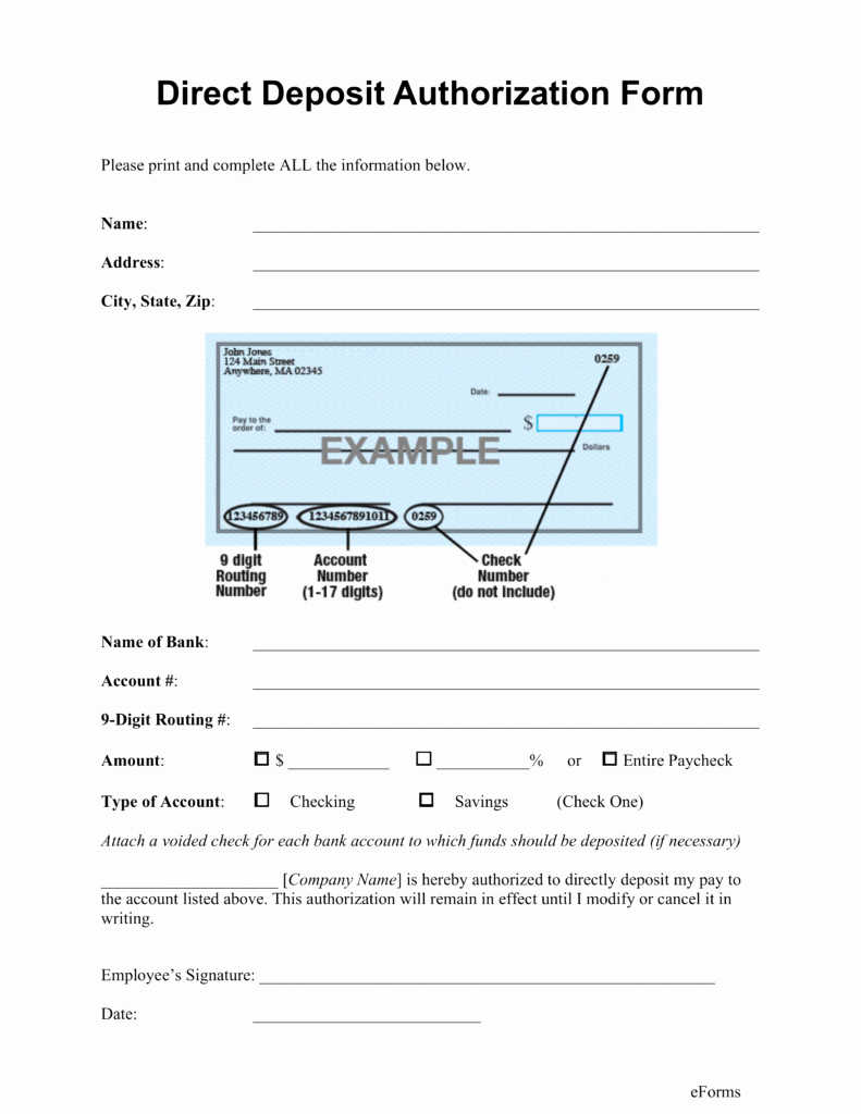 Direct Deposit form Template Best Of Direct Deposit form Template