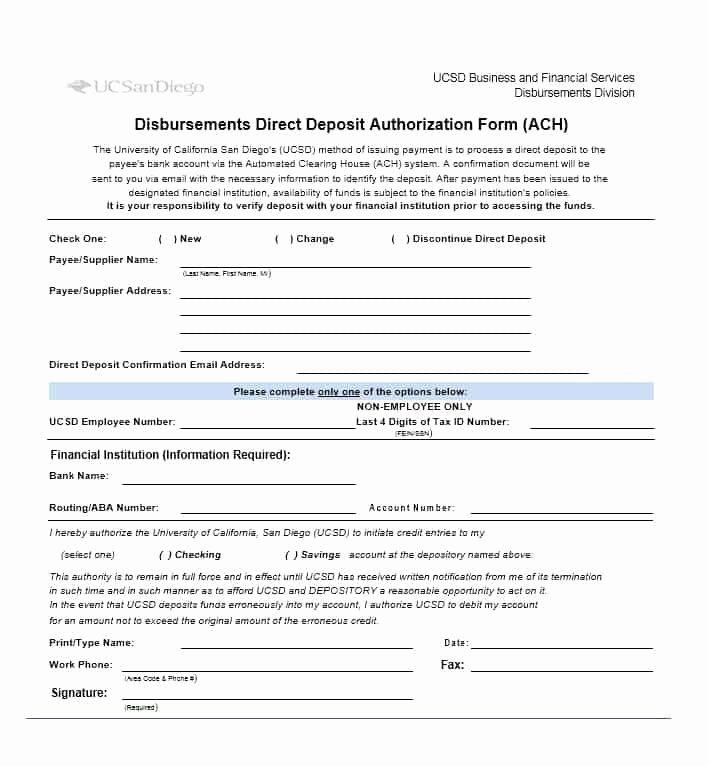 Direct Deposit form Template Elegant 47 Direct Deposit Authorization form Templates Template