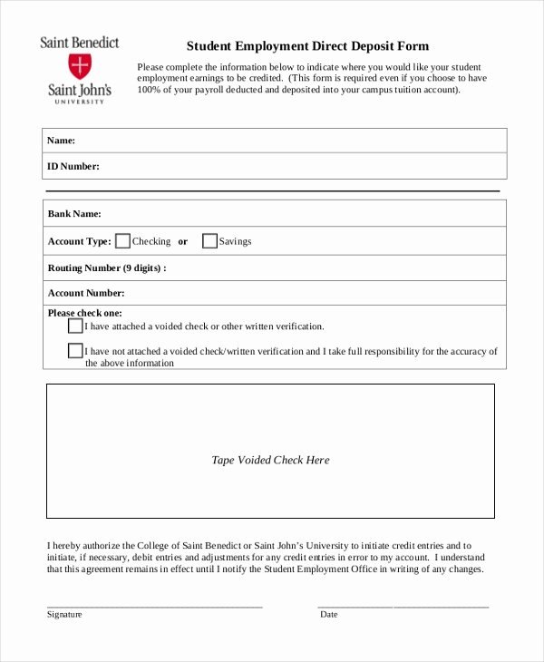 Direct Deposit form Template Elegant Sample Direct Deposit forms 10 Free Documents In Pdf