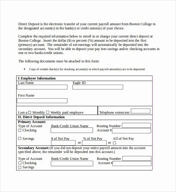 Direct Deposit form Template Unique 8 Direct Deposit Authorization forms Download for Free