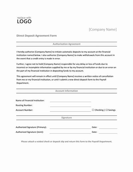 Direct Deposit form Template Unique Payrolls Fice
