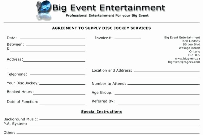 Disc Jockey Contracts Template Beautiful Mobile Contract Template Entertainment Music Band – Mklaw