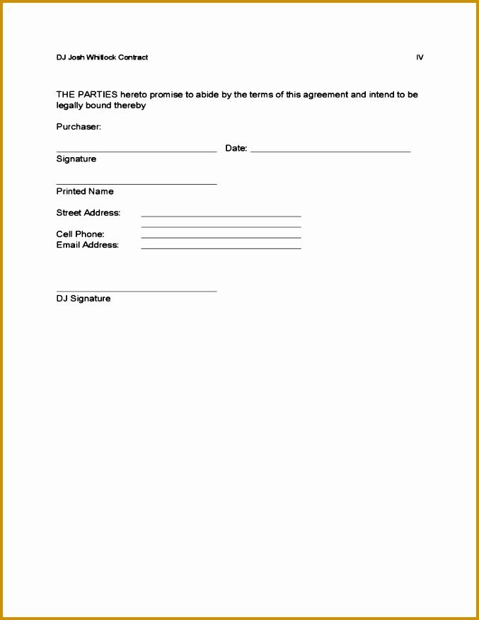 Disc Jockey Contracts Template Fresh 4 Free Printable Dj Contracts