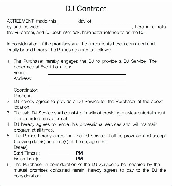 Disc Jockey Contracts Template Fresh Disc Jockey Contracts Template Luxury Famous Contract