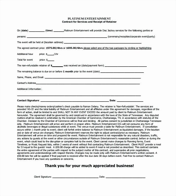 Disc Jockey Contracts Template Luxury Blank Contracts