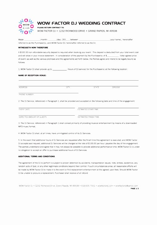 Disc Jockey Contracts Template New 10 Wedding Planner Terms and Conditions Template Oetol