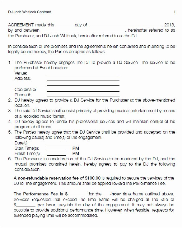 Disc Jockey Contracts Template Unique 14 Dj Contract Templates Pdf Google Docs Apple Pages