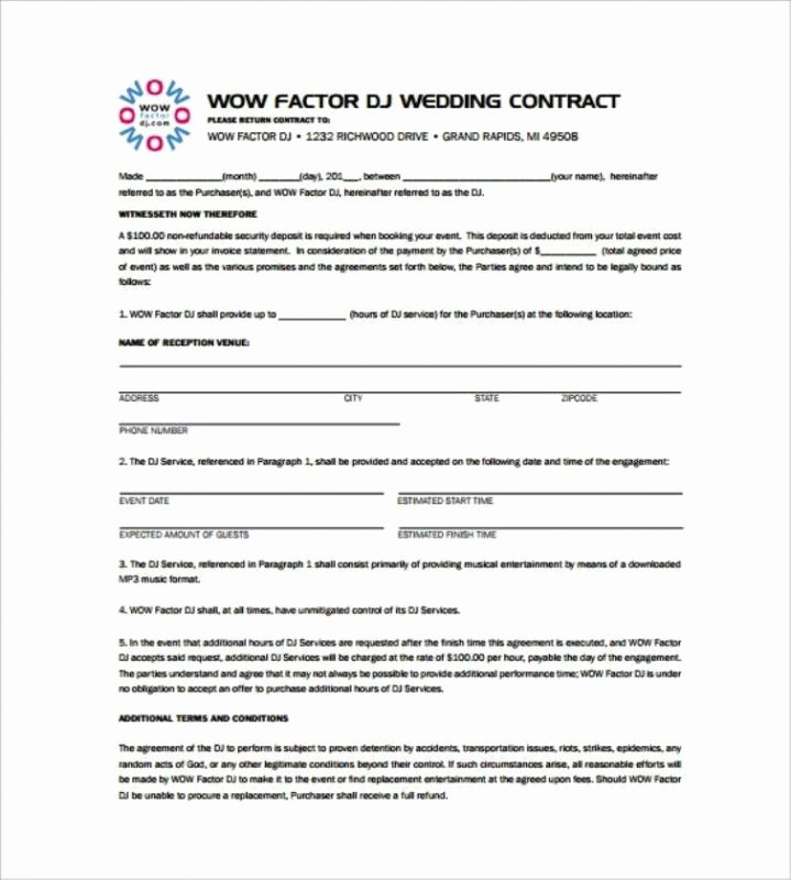 Disc Jockey Contracts Template Unique Disc Jockey Contracts Template