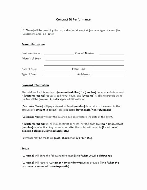 Disc Jockey Contracts Template Unique Mobile Dj Contract Template – Miyamufo